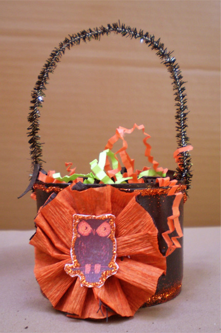 SOLD-Creepy Owl Trick or Treat Bucket