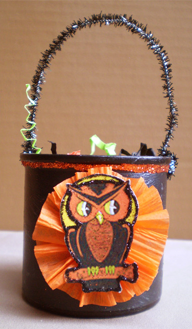 SOLD-Owl Trick or Treat Bucket