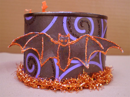 SOLD-Glittery Bat Candle Can