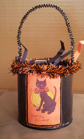 SOLD-Retro Kitty Trick or Treat Bucket